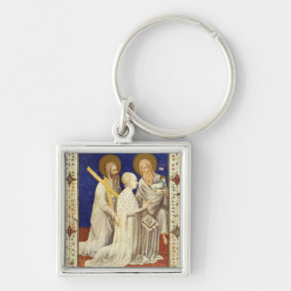 MS 11060-11061 John, Duc de Berry on his knees bet Silver-Colored Square Key Ring