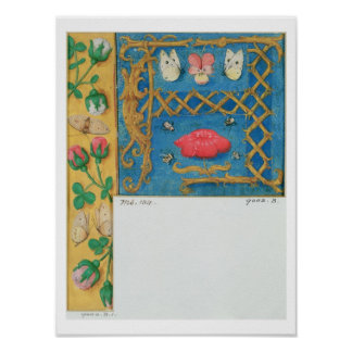 Ms 134 Illuminated letter `A' and side border of f Poster