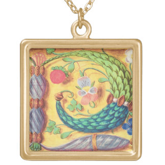 Ms 134 Illuminated letter `P' decorated with flowe Gold Plated Necklace