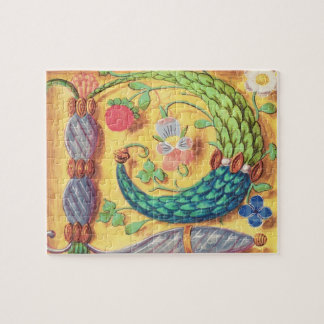 Ms 134 Illuminated letter `P' decorated with flowe Jigsaw Puzzle
