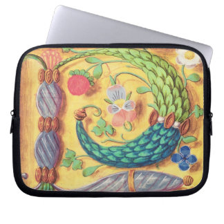 Ms 134 Illuminated letter `P' decorated with flowe Laptop Sleeve