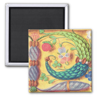 Ms 134 Illuminated letter `P' decorated with flowe Magnet