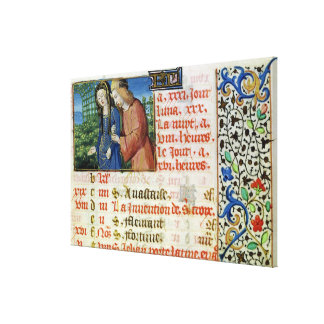 Ms 134 May: Courting Couple, from a Book of Hours Canvas Prints