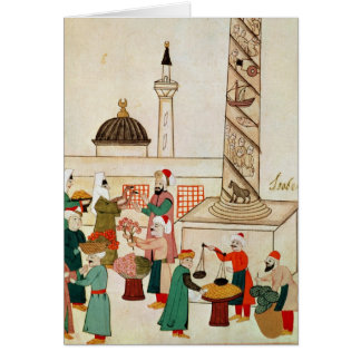 Ms 1671 A Bazaar in Istanbul, c.1580 Card