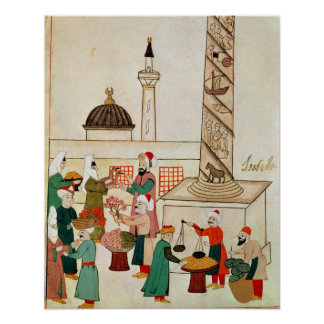 Ms 1671 A Bazaar in Istanbul, c.1580 Poster