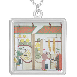 Ms.1671 Two Fruit Shops, c.1580 Silver Plated Necklace