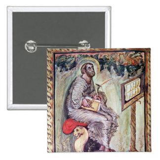 Ms 1 fol.90v St. Luke, from the Ebbo Gospels 15 Cm Square Badge