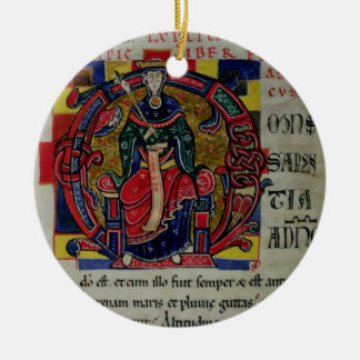 Ms 2 fol.8 Historiated initial 'O' depicting a fig Christmas Ornament