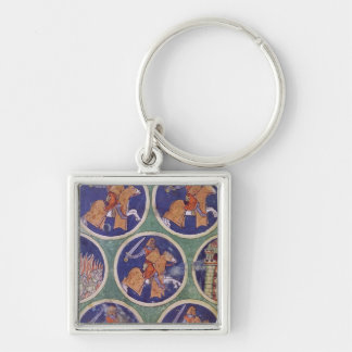 Ms 3516 fol.217v Five Knights Silver-Colored Square Key Ring
