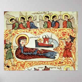Ms 404 fol.1v The Nativity, from a Gospel Poster