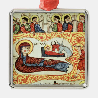 Ms 404 fol.1v The Nativity, from a Gospel Silver-Colored Square Decoration