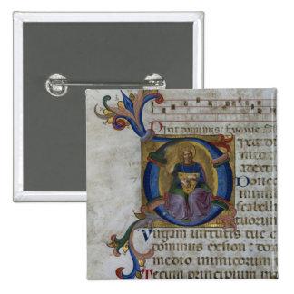 Ms 531 f.169v Historiated initial 'D' depicting Ki 15 Cm Square Badge