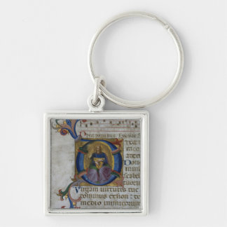 Ms 531 f.169v Historiated initial 'D' depicting Ki Silver-Colored Square Key Ring