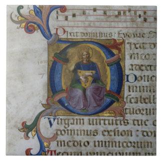 Ms 531 f.169v Historiated initial 'D' depicting Ki Tile