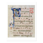 Ms 561 Page with historiated initial 'P' depicting Postcards
