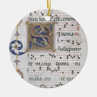 Ms 564 f.13v Page with historiated initial 'S' dep Christmas Ornament