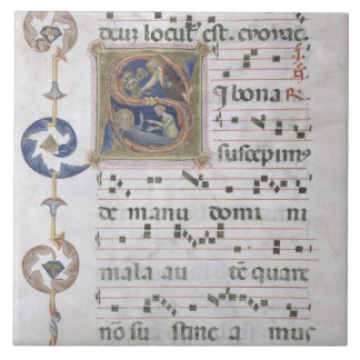 Ms 564 f.13v Page with historiated initial 'S' dep Tile