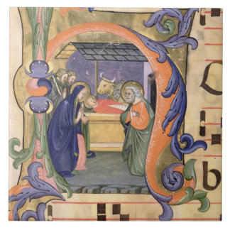 Ms 571 f.6r Historiated initial 'H' depicting the Large Square Tile