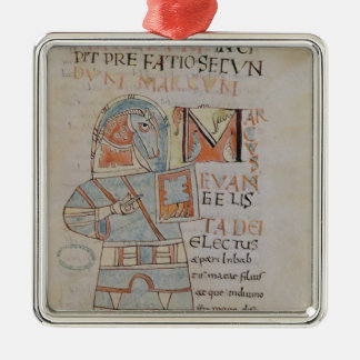 Ms 8 f.42 St. Mark the Evangelist Silver-Colored Square Decoration