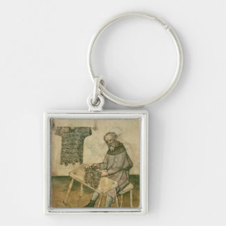 Ms Amb 3172 Armourer Making a Hauberk Silver-Colored Square Key Ring