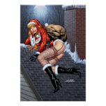 Ms Claus On The Rooftop Delivering Santas Presents Poster