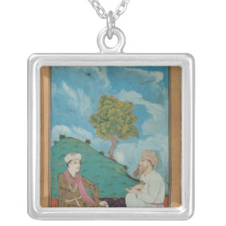 Ms D-181 fol.9 A Teacher and his Pupil, 1674 Silver Plated Necklace