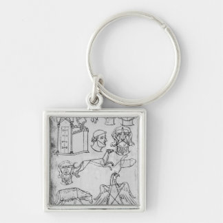 Ms Fr 19093 fol.18v Various drawings Silver-Colored Square Key Ring