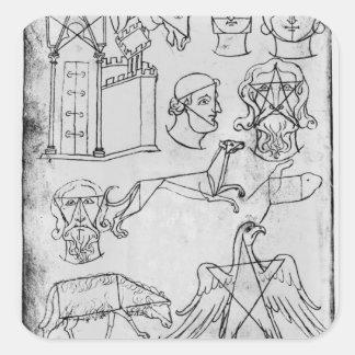 Ms Fr 19093 fol.18v Various drawings Square Sticker