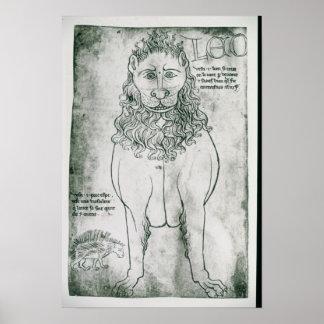 Ms Fr 19093 fol.24v Lion and Porcupine Poster