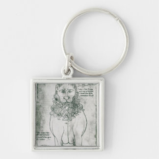 Ms Fr 19093 fol.24v Lion and Porcupine Silver-Colored Square Key Ring
