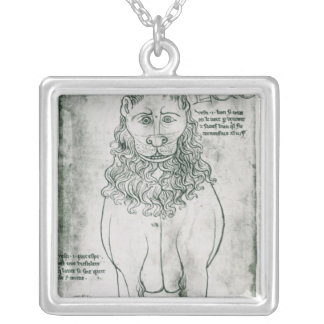 Ms Fr 19093 fol.24v Lion and Porcupine Silver Plated Necklace