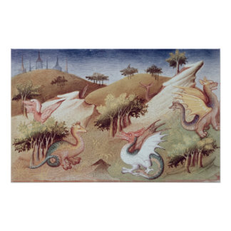 Ms Fr 2810 f.55v Dragons and other beasts Poster
