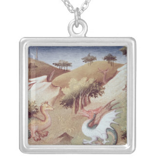 Ms Fr 2810 f.55v Dragons and other beasts Silver Plated Necklace