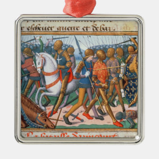 Ms Fr 5054 f.11 The Battle of Agincourt, 1415, fro Silver-Colored Square Decoration