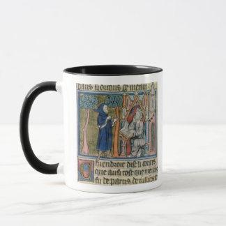 Ms Fr. 95 f.268 Merlin dictates the story to Blais Mug