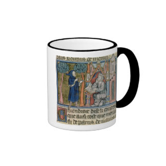 Ms Fr. 95 f.268 Merlin dictates the story to Blais Mugs