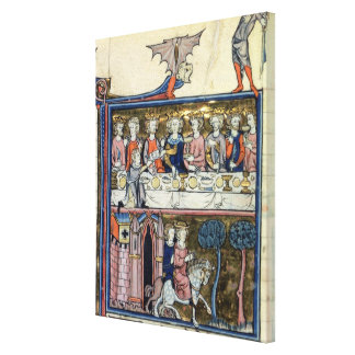 Ms Fr 95 f.326 King Arthur and his Knights around Canvas Print