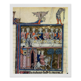 Ms Fr 95 f.326 King Arthur and his Knights around Print