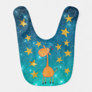 Ms Giraffe Shiny Stars Stripes Gold Baby Bib