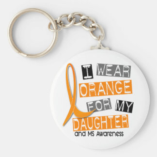 MS Multiple Sclerosis I Wear Orange For My Daughte Basic Round Button Key Ring