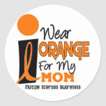 MS Multiple Sclerosis I Wear Orange For My Mum 9 Round Sticker