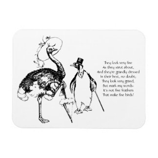 Ms Ostrich and Mr Penguin Rectangular Photo Magnet