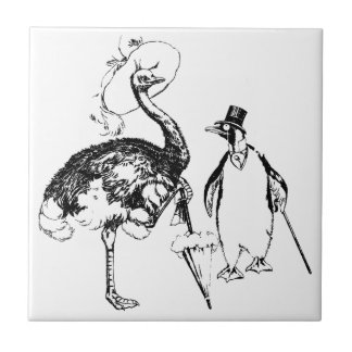 Ms Ostrich and Mr Penguin Small Square Tile