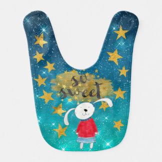 Ms Rabbit Shiny Stars Stripes Gold Baby Bib