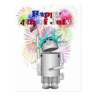 Ms Robo-x9 Celebrates the 4th of July! Postcard