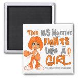 MS Warrior Fights Like Girl MS 42.9.png Fridge Magnets