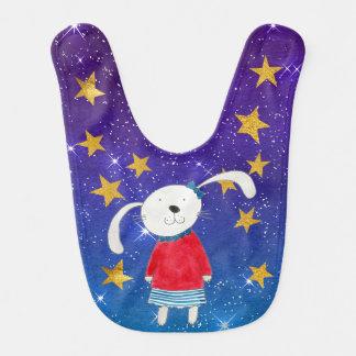 Ms. White Rabbit Shiny Stars Stripes Gold Baby Baby Bib