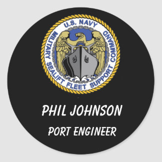 MSFSC Logo Blk Backgroung, Port Engineer, Phil ... Classic Round Sticker