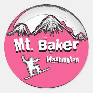 Mt. Baker Washington pink snowboard sticker