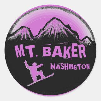 Mt. Baker Washington purple snowboard stickers